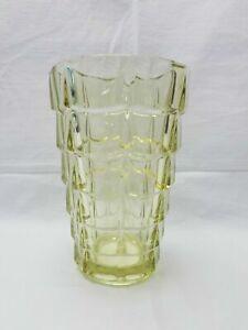 Vintage Yellow Glass Block Optical Vase Geometric Scale Brick Square Cube