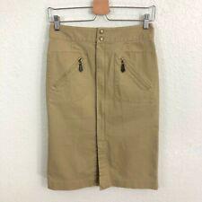 Talbots Pencil Skirt Sz 4 Khaki Tan Zip Front Knee Length