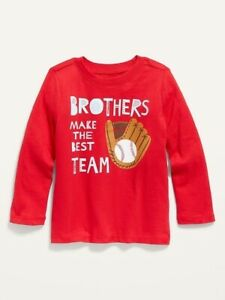 Old Navy Toddler Boy ~ Brothers Team ~ Long Sleeve Tee ~ Size 2T - 4T