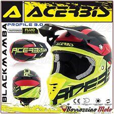CASQUE ACERBIS PROFILE 3.0 BLACKMAMBA MOTOCROSS ENDURO NOIR/JAUNE FLUO TAILLE L