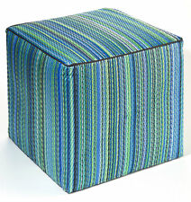 Indoor/Outdoor Ottoman, Cube Ottoman, Cancun Aqua