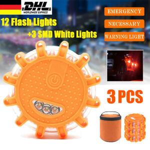 3x Warnlicht Warnblinkleuchte KFZ Auto LED Warnleuchte Notfallleuchte mit Magnet