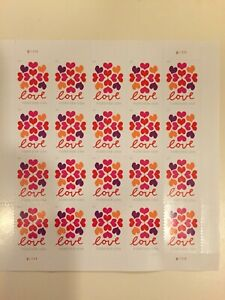 FOREVER STAMPS U.S.POSTAGE Full Stamp Sheet Book of 20 Forever Love Stamps