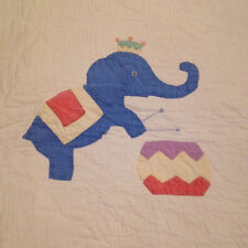 Vintage Childs Pink and White Circus Quilt Lion Monkey Elephant Children Too Fun