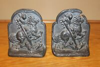 """Antique Hubley Metal Cast Iron Bookends """"St George And The Dragon"""" #312 5.5"""""""
