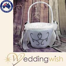Black and White Flowergirl Basket, Wedding Flower Girl Basket