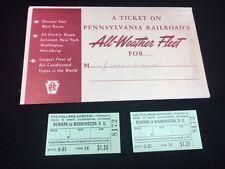 1941 PENNSYLVANIA RAILROAD 2 TRAIN TICKET STUBS & ENVELOPE, NEWARK TO WASH DC
