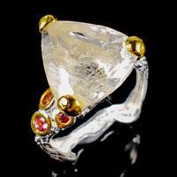 Rutilated Quartz Ring Silver 925 Sterling Handmade9ct+ Size 8.75 /R128692