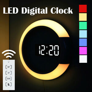 LED Digital Wall Clock Hollow 7Color Change Night Backlight Alarm Remote Control