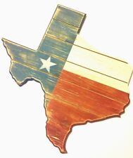 Texas Patriotic Shaped Wood Wall Decor 18x18 inches New Rustic Distressed