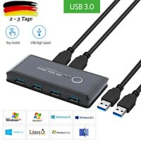 4 Ports USB 3.0 Teilen USB Switch KVM Switcher mit 2 Kabel für Drucker 4 in 1 DE
