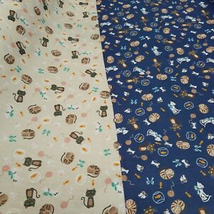 """Naughty Cute Cats With Mice Gold Fish Printed Polycotton Fabric 114cm (45"""") wide"""