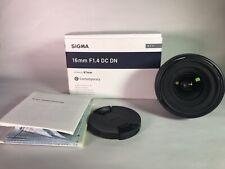 Sigma 16mm F1.4 DC DN Sony-mount lente apenas usado E