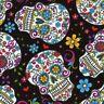 David Textiles Calavera Sugar Skull folkloric Black Cotton fabric by the yard
