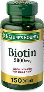 Nature's Bounty Biotin 5000 mcg 150 Rapid Release Softgels