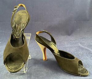 Vintage Ted Saval Mandels 1940 Black Suede Stiletto Glitter Heel Slingback Shoes