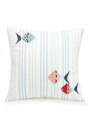 "Vera Bradley Go Fish Embroidered Ribbon Throw Pillow NWT NEW HTF White 16""x16"""