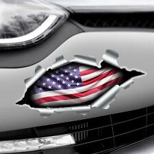 TORN RIPPED 3D EFFECT USA FLAG American Novelty Car,Bumper Vinyl Decal Sticker