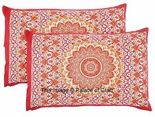 2 Pc Indian Handmade Ombre Mandala Pillow Cover Cotton Cushion Covers Pouf Cases