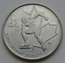 Canada 25 Cents 2009. Olympic. Ice Skating. Quarter dollar coin. Vancouver 2010