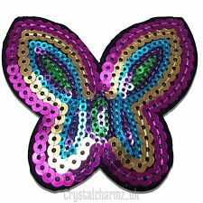 Rainbow Sequin Butterfly Iron/Sew On Patch Motif *Buy 2 get 20% off* UK