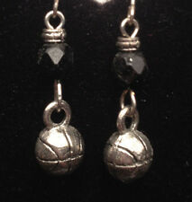 Basketball Charm with Black Bead Pewter Earrings from Ann Peden Collection