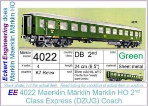 EE 4022 LN Marklin HO DB 2nd Class Green Passenger Car D-Zug-Wagon Version 2 OBX