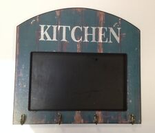 Shabby Chic Green Black Board with Four Hooks