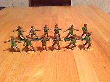 X12 1970s TIMPO WW2 BRITISH ARMY REGULAR + ANZAC PLASTIC SOLDIER FIGURES 1/32