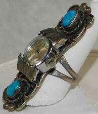 VTG LARGE CHUNKY PAWN NAVAJO TURQUOISE WATCH STERLING SILVER LADIES RING