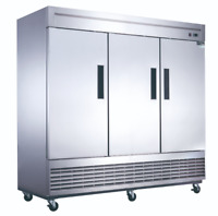 NEW 3 Door Reach In Freezer Stainless Steel Solid NSF Dukers D83F #2030 Upright