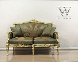 1/4 Classic sofa Louis XVI style for dolls 16 inch, gold couch, BJD furniture