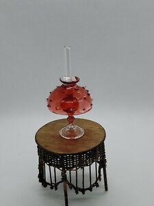 DOLLHOUSE MINIATURE VINTAGE BLOWN GLASS HURRICANE LAMP W SHADE