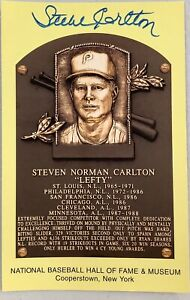 Steve Carlton Signed Gold HOF Plaque Postcard Yellow JSA Autograph Phillies 3xCY