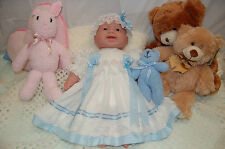 Reborn/Baby Doll Dress & Headband Set - White with Blue Gingham  -size 22inch