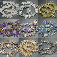 Metallic Titanium Coated Natural Quartz Crystal Stick Spike Pointed Beads 16''