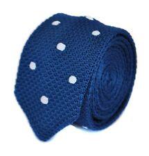 Frederick Thomas Knitted Silk Mens Tie - Dark Navy Blue and White Polka Spot