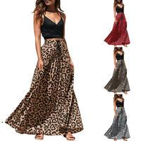 Womens Leopard Print Long Drawstring Pleated High Waisted Bohemian Maxi Skirt