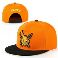 New Chic Men Women Baseball Cap Pokemon Go Anime Eevee Hip Hop Flat Hat Cap KKK