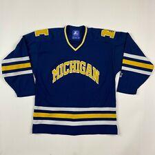vintage University of Michigan Wolverines sewn Hockey Jersey Starter mens Medium