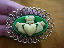 (CM38-64) traditional CLADDAGH heart hands ivory + green CAMEO brass Pin Pendant