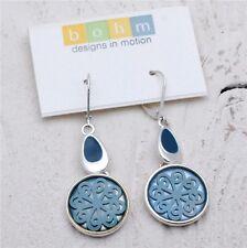 BOHM Drop Earrings Vintage Silver Blue Enamel Scrolling Suspended Flower BNWT