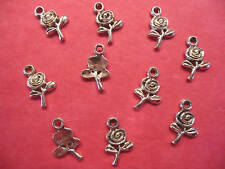 Tibetan Silver Rose/Flower Charms 10 per pack