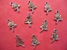Tibetan Silver Rose/Flower Charms 10 per pack