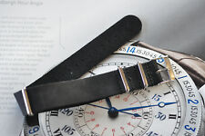 Quality 20mm One-Piece Leather Strap fits Military Vintage Watch Band 316 Steel