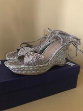 4ece62c03715 Stuart Weitzman Trixie Gold Lace Up Wedges Sandals Shos Size 7.5 M