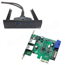 PCI-E PCI Express 2 port USB 3.0 Card Adapter w/ USB 3.0 Front Panel