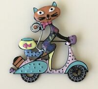 Vintage style artistic Cat on scooter brooch in enamel on metal