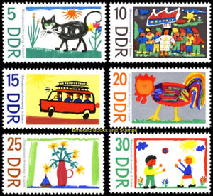 EBS East Germany DDR 1967 Children's drawings Michel 1280-1285 MNH**