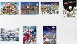Traditional Advent Calendar - Christmas Snow Scene, Santa, Fun Fair, Animal Hats